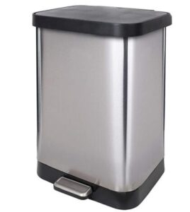 Glad 13 gallon stainless steel step kitchen trash can