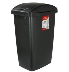 Rubbermaid 13 gallon plastic trash can with swing top lid
