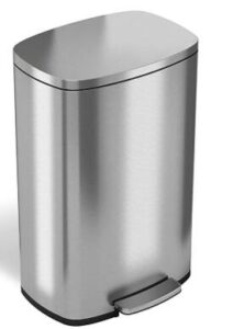 13 gallon stainless steel kitchen trash can with step-on lid