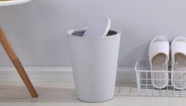 residential white pop up trash can