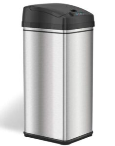 touchless Stainless Steel Automatic Trash Can with Odor-Absorbing Filter and Lid Lock for office