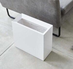 white retangular garbage bin with 4 gallon capacity