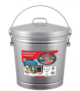 10 galllon metal garbage can with a locking lid