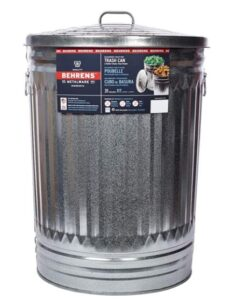 Berhens metal garbage can for kitchen with 30 gallon capacity