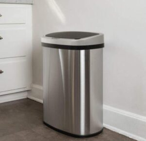 BestOffice auto stainless steel trash can with 13 gallon capacity