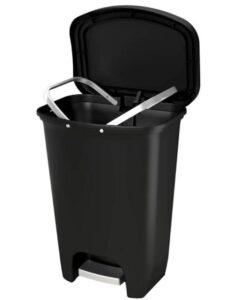 13 gallon plastic garbage bin with odor control
