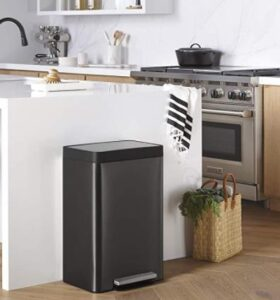 black stainless steel step trash can for indoor