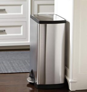 Simplehuman 13 gallon indoor trash can made from stainless steel