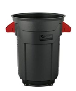 20 gallon black trash bin with two red handles