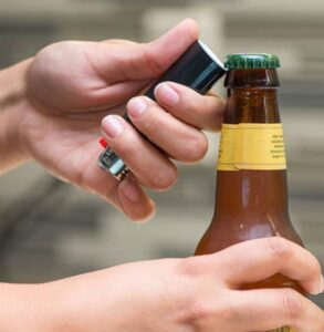 a lighter as a bottle top opener