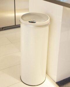 iTouchless white plastic hand free trash bin