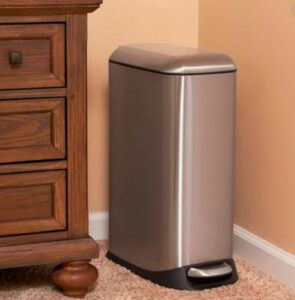 13 gallon metal brushed garbage can for residential use