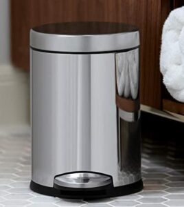 Simplehuman stainless steel garbage can for bathroom