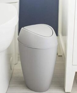 Umbra garbage can with swing lid for bathroom