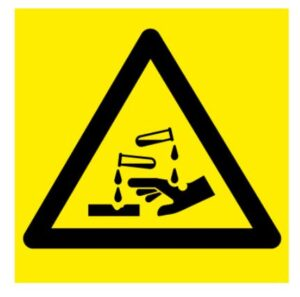 do not touch any corrosive materials